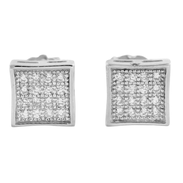 Lab Diamond Sterling Silver Square Kite Earrings