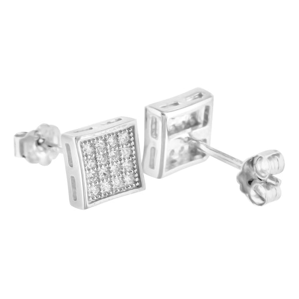 Lab Diamond Sterling Silver Square Kite Earrings White Finish