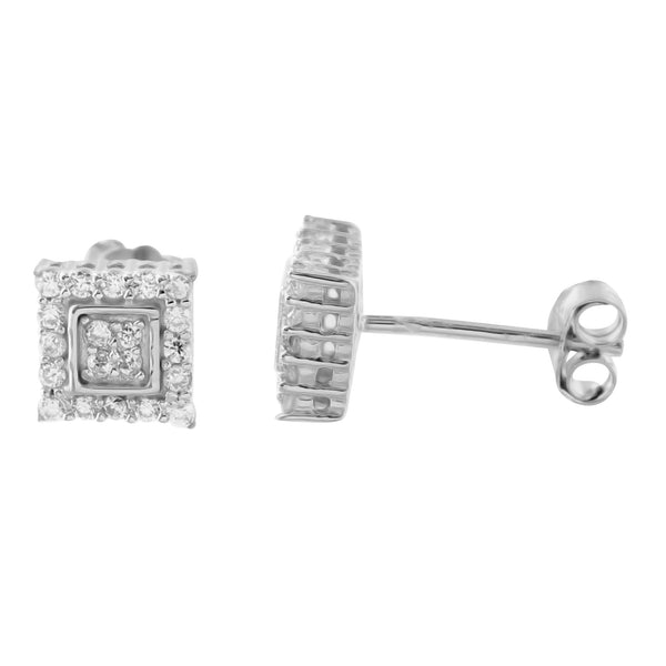 Lab Diamond Square shape Sterling Silver Earring
