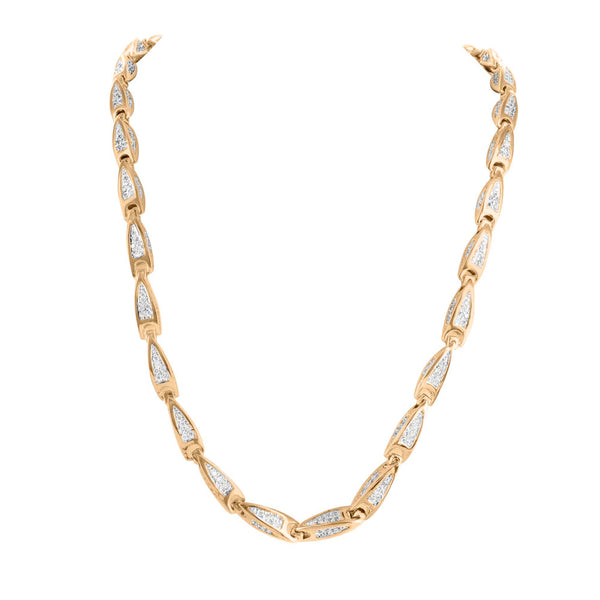 Bullet Design Link Micro Pave 14k Rose Gold Finish Lab Diamond Necklace