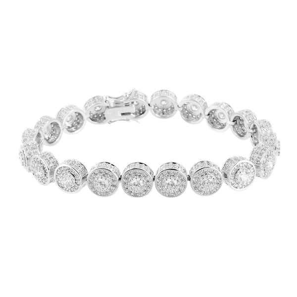 Mens Solitaire Link Bracelet White Rhodium Finish