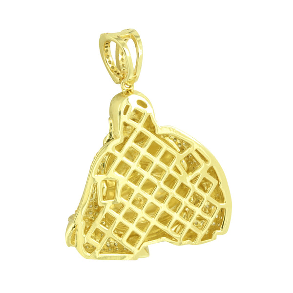 Mens Buddha Pendant Buddhist 14K Gold Finish Yellow