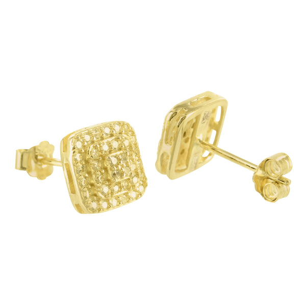 Gold Finish Canary Lab Diamond Square Silver Earring