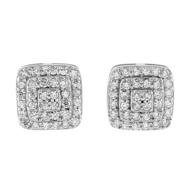 14k White Gold Finish Cubic Zirconia 925 Silver Earrings