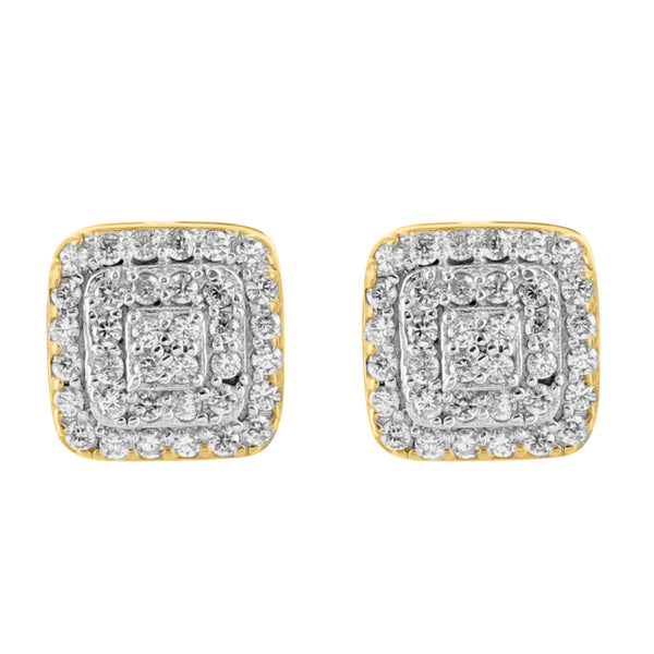 14K Yellow Gold Finish Mens Cubic Zirconia 925 Silver Earrings