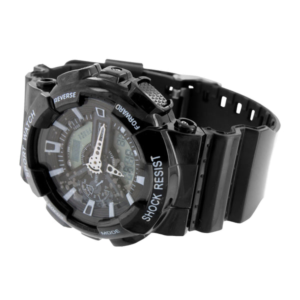 Black Sports Watch Shock Resistant Digital Analog