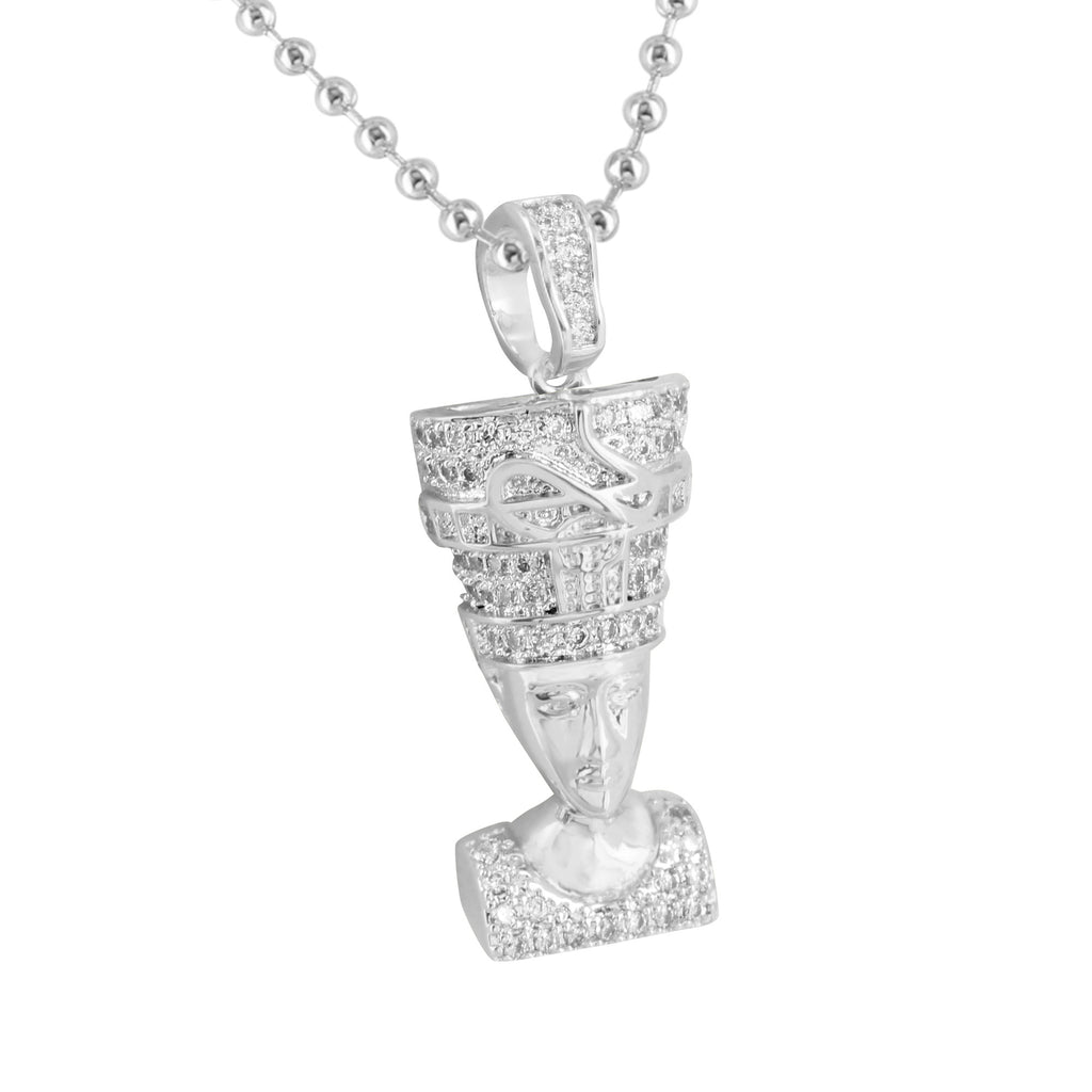 Nefertiti pendant mens charm simulated diamonds steel bead nefertiti pendant mens charm simulated diamonds steel bead necklace mozeypictures Choice Image