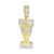 Nefertiti 14K Gold Finish Pendant Simulated Diamonds Stainless Steel Box Chain