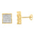 925 Silver Lab Diamond Gold Finish Square Earrings