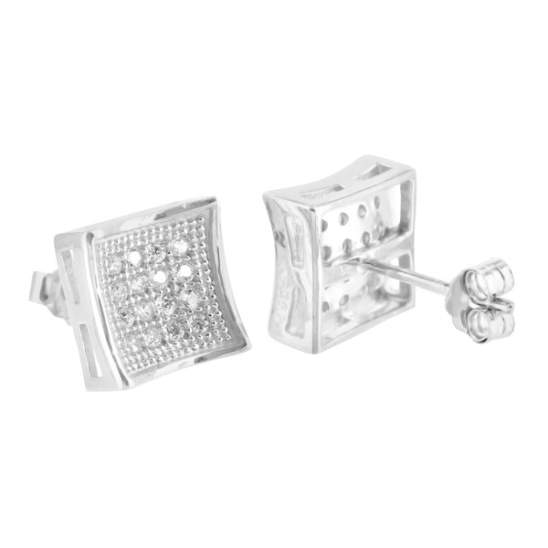 White Gold Finish Concav 925 Silver Lab Diamond Earrings