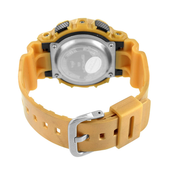 Metallic Gold Digital Wristwatch For Men Big Face Bold Steel Resin Light Watch