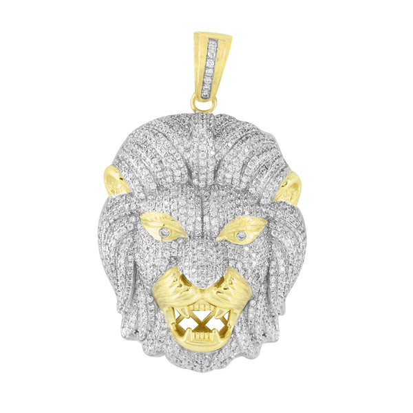 Mens Lion Pendant Fully Iced Out Sterling Silver