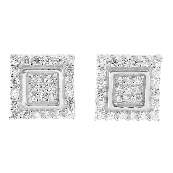 Sterling Silver Square White Gold Finish Lab Diamond Earrings