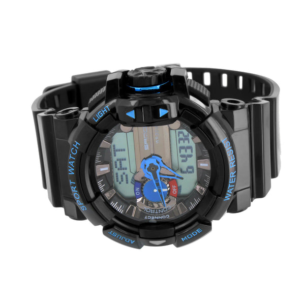Black Gloss Shiny Finish Digital Sports Watch Shock Resist Steel Light