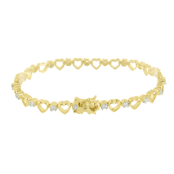 Ladies Heart Link Bracelet 14K Yellow Gold Finish Classy Lab Diamond