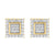 Yellow Gold Finish Lab Diamond Square 925 Real Silver Earrings