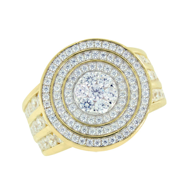 Simulated Diamond Mens Ring 925 Silver Round Cluster Iced Out