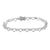 Heart Link Bracelet White Gold Finish Womens Lab Diamond