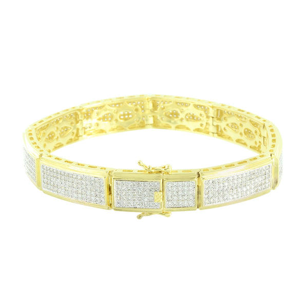 Mens Designer Bracelet 14K Yellow Gold Finish