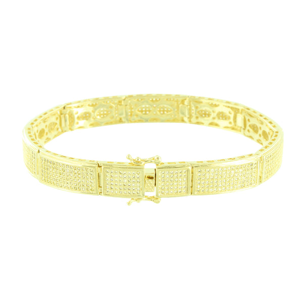 Rectangle Link Bracelet Canary Simulated Diamond Micro Pave