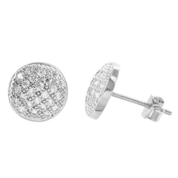 White Gold Finish Round Dome Silver Earrings Lab Diamonds