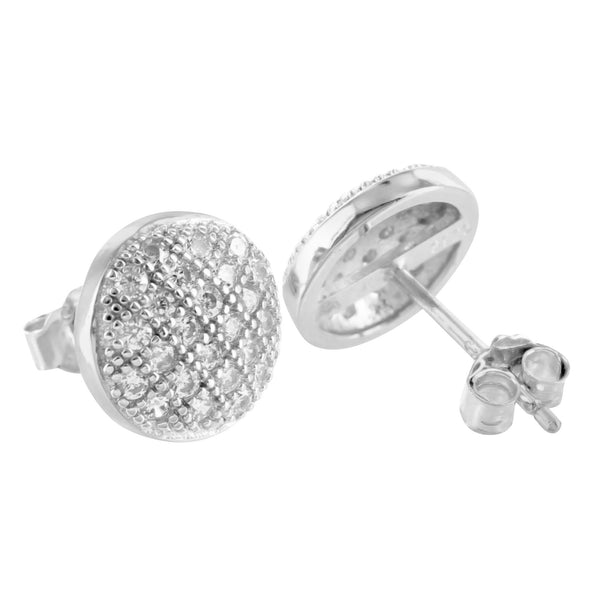 White Gold Finish Round Dome 925 Silver Earrings Lab Diamonds