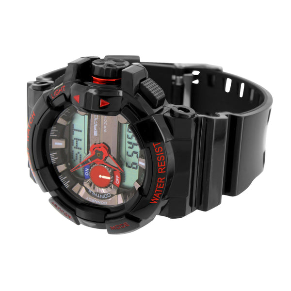 Mens Shock Resistant Sports Watches Black And Red