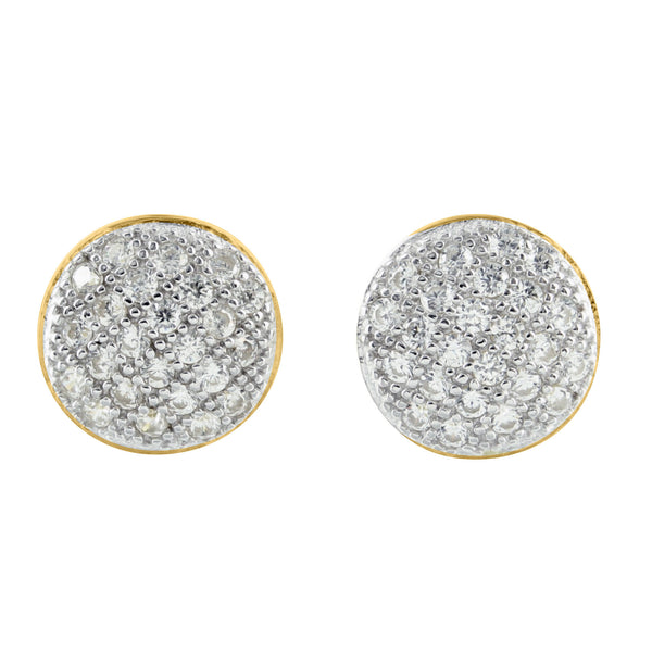 Silver 14k Gold Finish Round Dome Lab Diamond Earrings