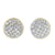 925 Silver Yellow Gold Finish Round Dome Lab Diamond Earrings