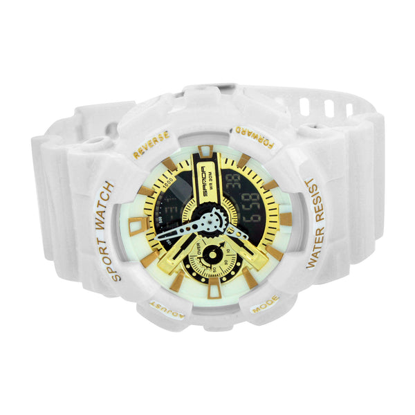 White Gold Face Round Digital Watch Unisex