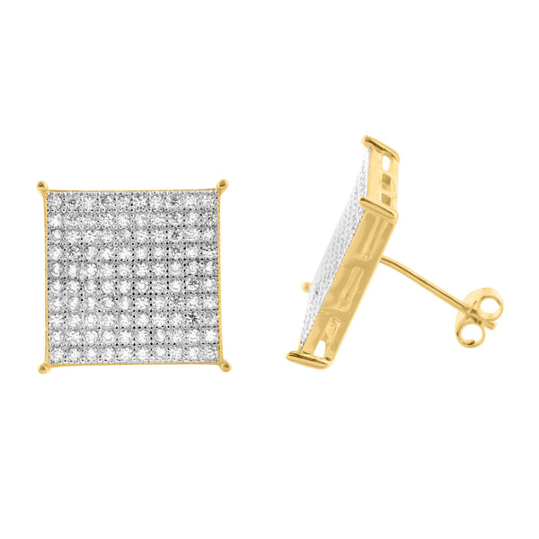 925 Silver Yellow Gold Finish Round XL Square Earrings Stud