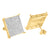 925 Silver Gold Finish Round XL Square Earrings Stud