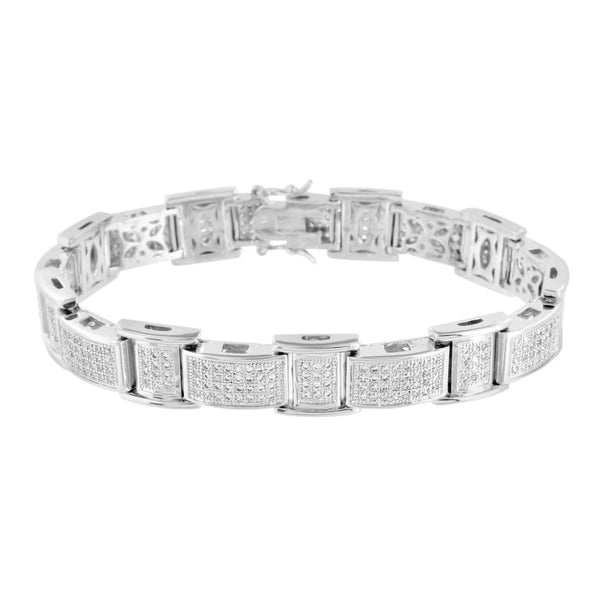 White Rhodium Finish Bracelet Simulated Diamonds