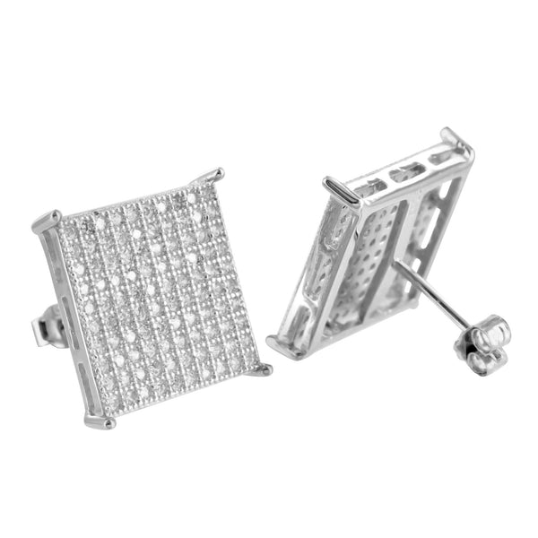 925 Silver White Gold Finish Round XL Square Earrings Lab Diamond