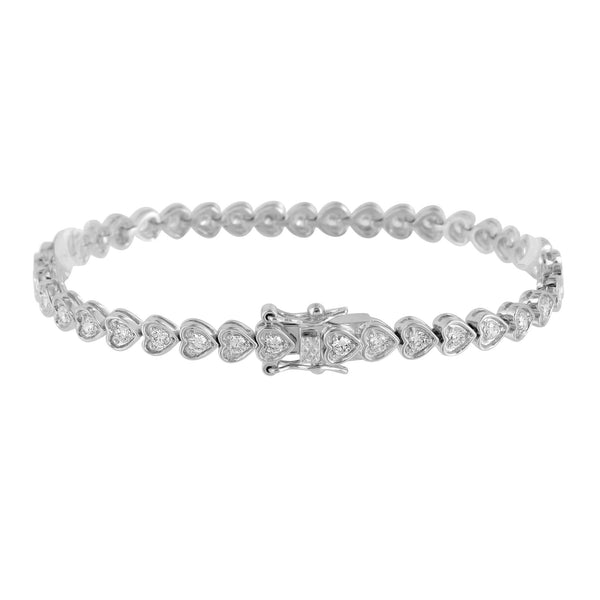 Ladies White Gold Bracelet Lab Diamond 14K Finish