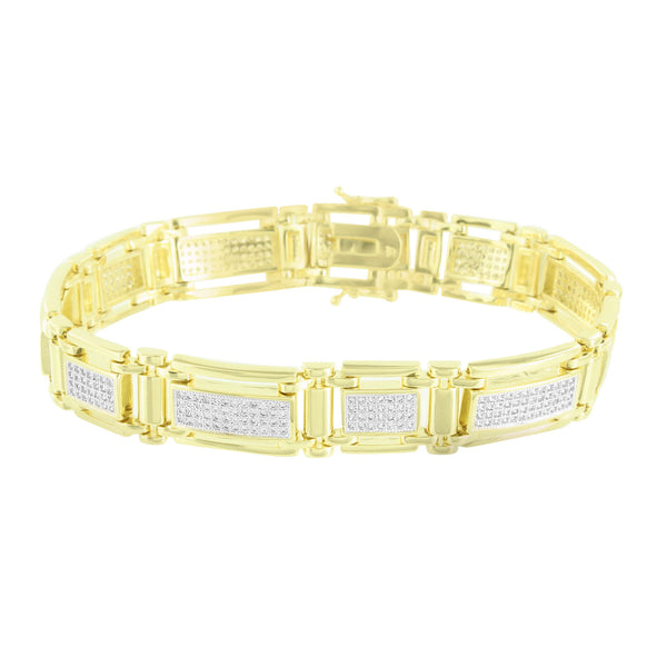 Mens Custom Bracelet 14K Yellow Gold Finish Simulated Diamonds