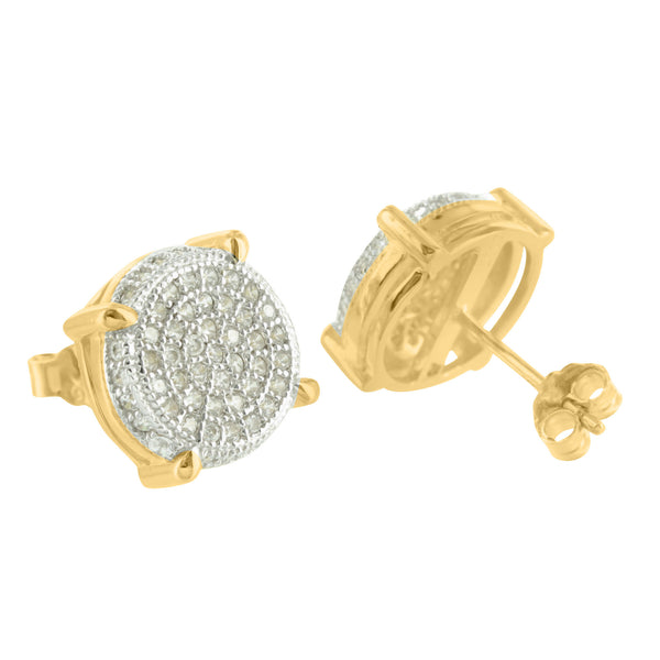 Round Sterling Silver Yellow Gold Finish Lab Diamond Earrings