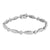 Oval Shape Link Bracelet 14K White Gold Finish Lab Diamonds