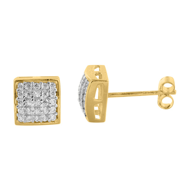 Square White Lab Diamond Yellow Finish Real Silver Earrings