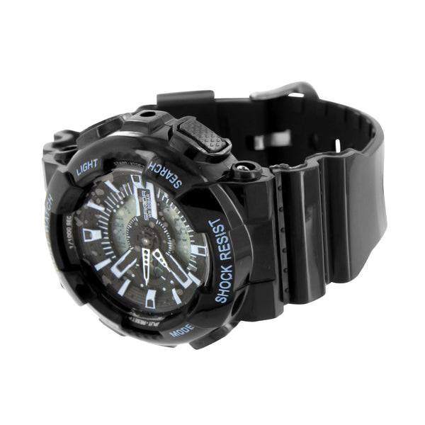 Round Black Light Blue Digital-Analog Watch