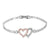 Heart Bracelet Pink & White Lab Diamond White Tone