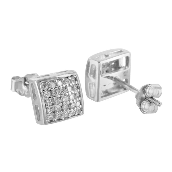 White Gold Finish Cubic Zirconia 925 Silver Earrings
