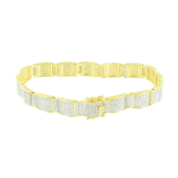 Simulated Diamonds Mens Bracelet 14K Yellow Gold Finish