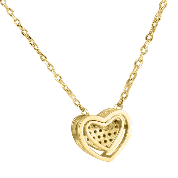 Heart Pendant 14K Gold Finish Chain Ladies