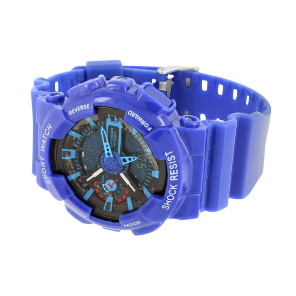 Blue Watch Sports Design Light Digital Analog Display Mens
