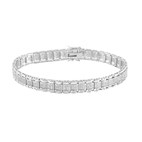 Mens Designer Bracelet White Rhodium Finish Simulated Diamonds