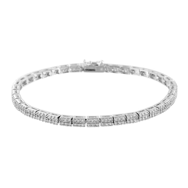 2 Row Link Bracelet White Finish Ladies Classy Wear
