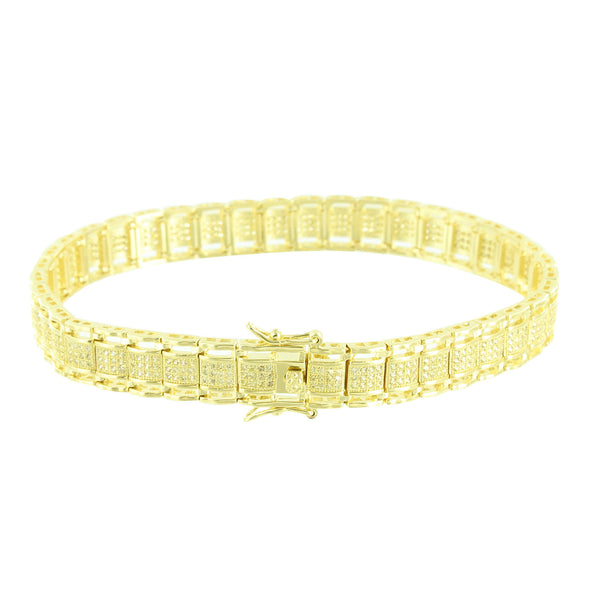 Yellow Simulated Diamonds Bracelet Slim Design Link