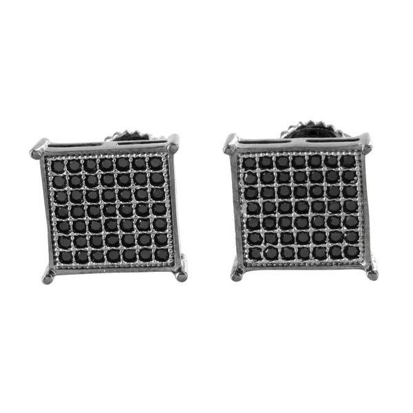 Black Square Shape Earrings Micro Pave Screw On