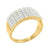 Sterling Silver 4 Row Mens Wedding Band Simulated Diamond 14K Gold Finish